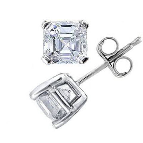 2.06 Ct. Asscher Cut Diamond Stud Earrings