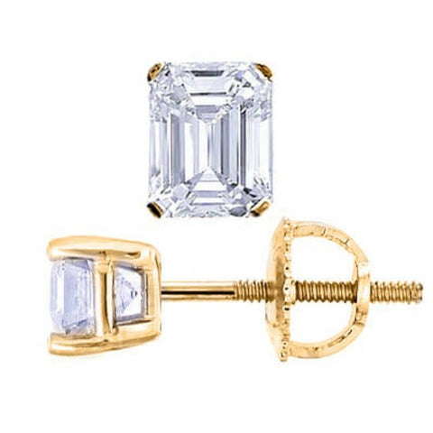 3.00 Ct. Emerald Cut Diamond Stud Earrings screw back yellow gold