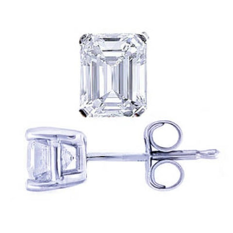 3.00 Ct. Emerald Cut Diamond Stud Earrings push back platinum or white gold