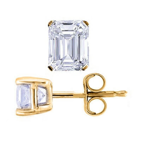 3.00 Ct. Emerald Cut Diamond Stud Earrings push back yellow gold