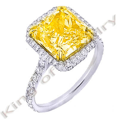 2.60 Ct. Canary Fancy Yellow Square Radiant Cut Diamond Engagement Ring VS2 GIA Certified