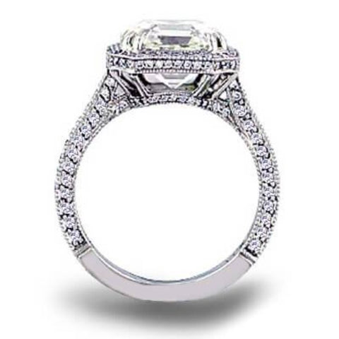 2.00 Ct. Halo Asscher Cut Micro Pave Diamond Ring E color VS2 GIA Certified