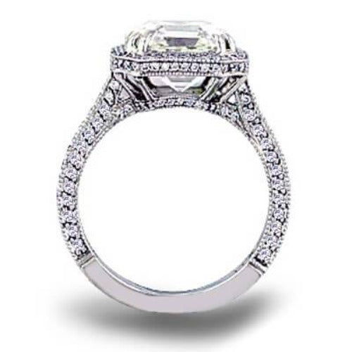 2.15 Ct. Micro Pave Halo Asscher Cut Diamond Engagement Ring H Color VS1 GIA Certified