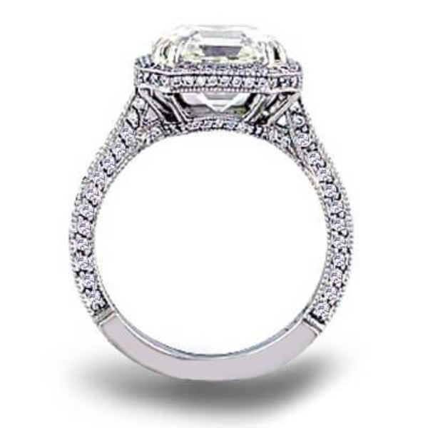 3.95 Ct. Micro Pave Halo Asscher Cut Diamond Ring I Color VS1 GIA Certified