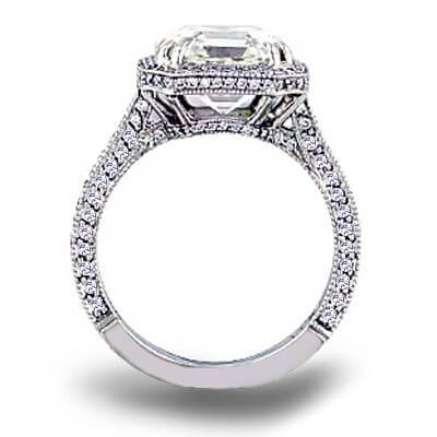 4.95 Ct. Micro Pave Halo Asscher Cut Diamond Ring J Color VS1 GIA Certified