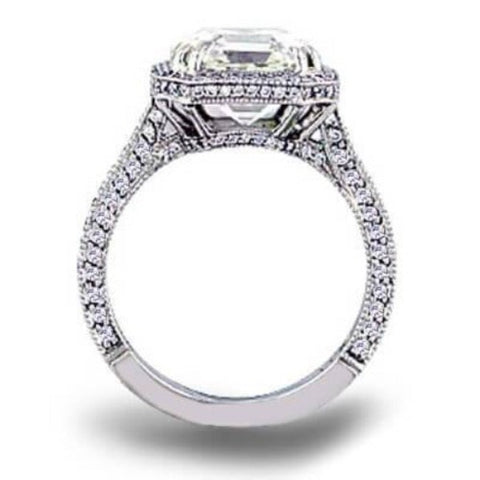 2.47 Ct. Micro Pave Halo Asscher Cut Diamond Ring G Color VS1 GIA Certified