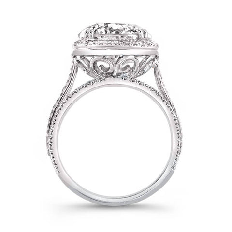 3.21 Ct. Halo Round Brilliant Cut Pave Diamond Engagement Ring G,SI1 GIA