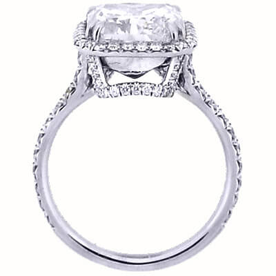 2.10 Ct. U-Setting Emerald Cut Halo Diamond Engagement Ring H,VS1 GIA