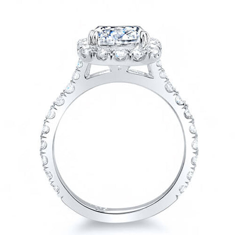2.86 Ct. Asscher Cut Round Halo Diamond Bridal Ring Set GIA I,VS2