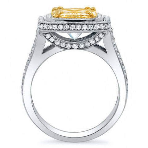 Double Halo Canary Fancy Yellow Square Radiant Cut Diamond Ring