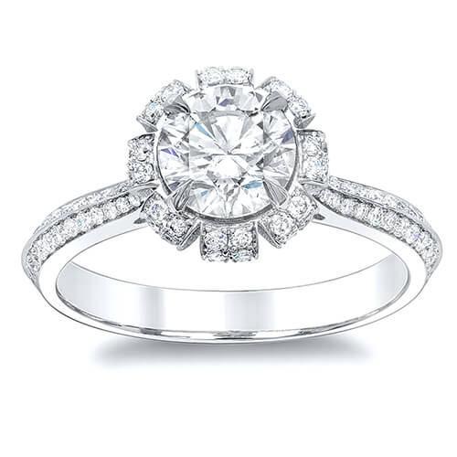 1.31 Ct. Round Brilliant Cut Floral Pave Diamond Engagement Ring F,VS2 GIA