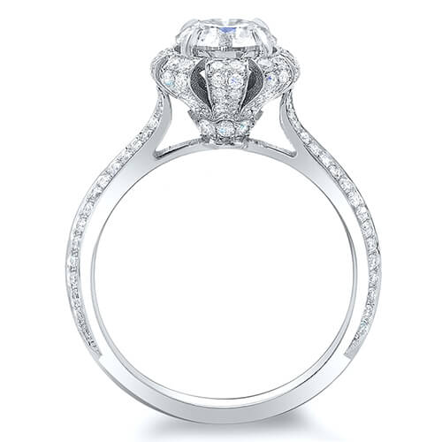 3.11 Ct. Round Brilliant Cut Floral Pave Diamond Engagement Ring G,SI1 GIA
