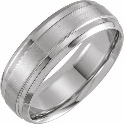 14K White Gold 7 mm Beveled-Edge Band with Satin Finish