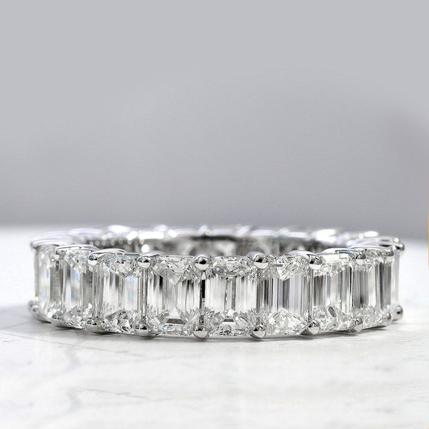 Gallery Shared Prong Emerald Cut Eternity Ring White Gold