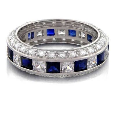 2.50 Ct. Sapphire & Diamond Diamond Eternity Band