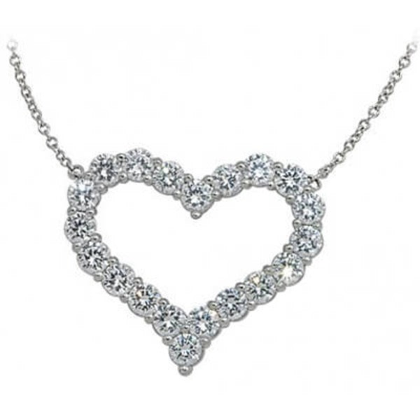White Gold Diamond Heart Pendant With Chain