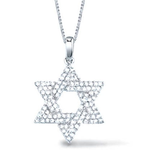 White Gold Diamond Star of David Pendant With Chain