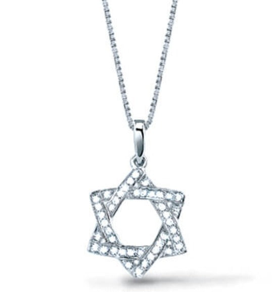 Pave Set Diamond Star of David Pendant With Chain