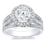 3.49 Ct. Round Brilliant Cut Halo Split Shank Diamond Engagement Ring G,SI1 GIA