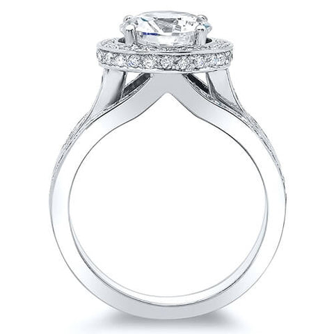 3.20 Ct. Cushion Cut Halo Split Shank Diamond Engagement Ring H,VVS2 GIA