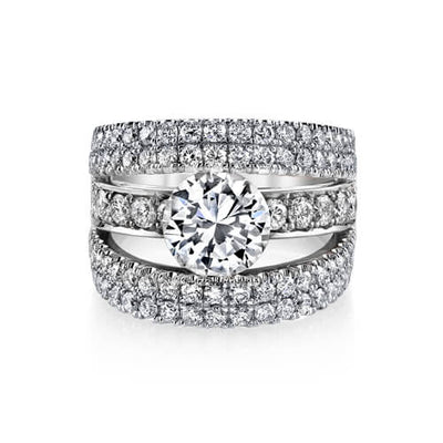 3.35 Ct. Round Brilliant Cut Pave Set Split Shank Engagement Ring GIA H, VVS1