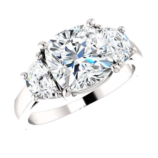 3.80 Ct. Cushion Cut & Half Moons 3-stone Diamond Ring H Color VS2 GIA Certified