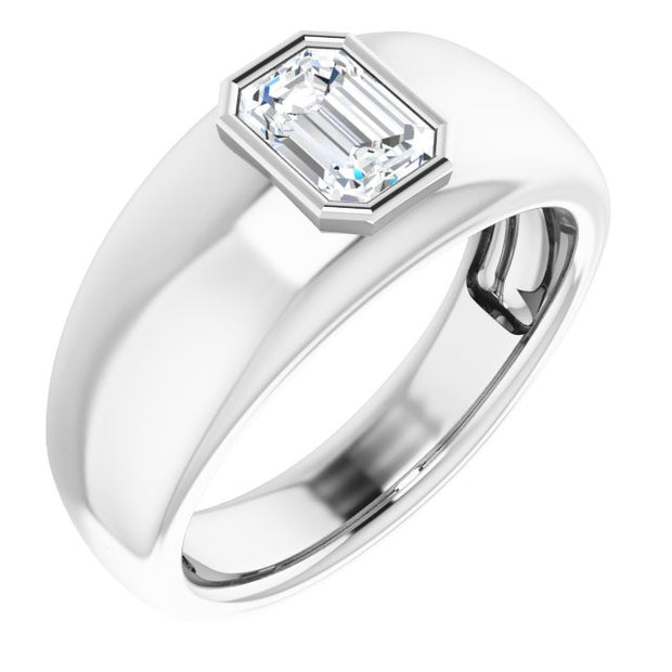 0.50 Ct. Bezel Set Emerald Cut Men's Diamond Ring F Color VVS2 GIA Certified