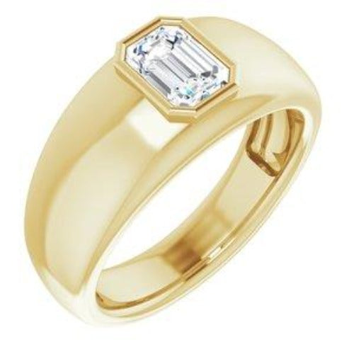 0.70 Ct. Bezel Set Emerald Cut Men's Diamond Ring H Color VVS2 GIA Certified