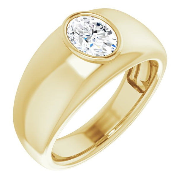 Men's Oval Cut Diamond Ring Bezel Set yellow gold