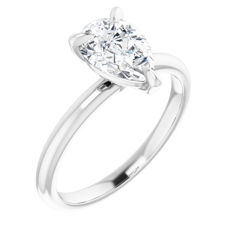 1.00 Ct. Pear Cut Classic Solitaire Diamond Engagement Ring G Color VS1 GIA Certified