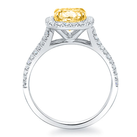 2.25 Ct. Canary Fancy Yellow Cushion Cut Halo Diamond Ring VS2 GIA Certified