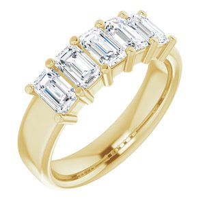 2.00 Ct. Emerald Cut 5 Stone Diamond Ring F-G Color VS1 Clarity