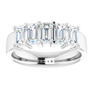 2.50 Ct. Emerald Cut 5 Stone Diamond Ring F-G Color VS1 Clarity