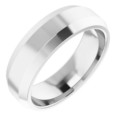 14K White 6 mm Beveled-Edge Comfort-Fit Band