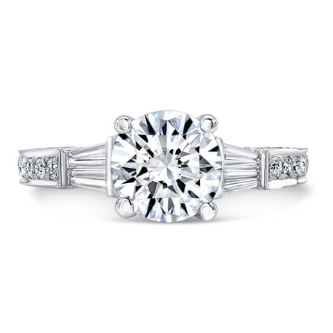 2.99 ct. Round Brilliant Cut W/ Baguette Cut Diamond Engagement Ring G, SI1 GIA