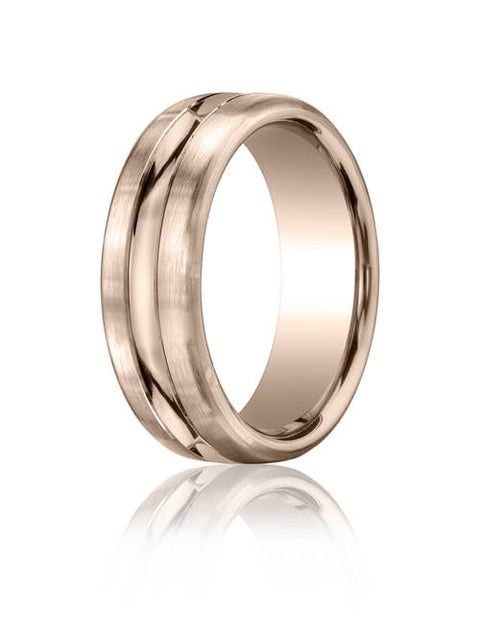 18k White Gold 7.5mm Comfort-Fit Satin-Finished High Polished Center Cut Carved Design Band - CF71750518kw
