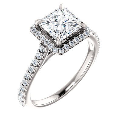1.60 ct. Princess Cut Halo Diamond Engagement Ring G Color VVS2 GIA Certified