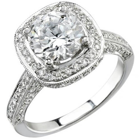 4.53 ct. halo round cut diamond engagement ring (GIA Certified)