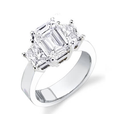 1.80 Ct. 3 Stone Emerald Cut Diamond Engagement Ring (GIA certified)
