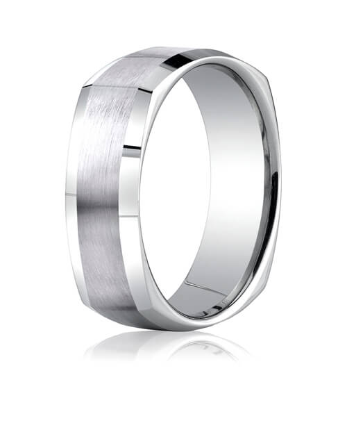14k White Gold 7mm Comfort-Fit Satin-Finished Four-Sided Carved Design Band - CF8760014kw