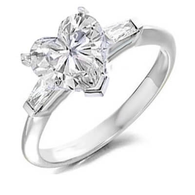 2.30 Ct. Heart & Baguette Cut Diamond Engagement Ring (GIA Certified)