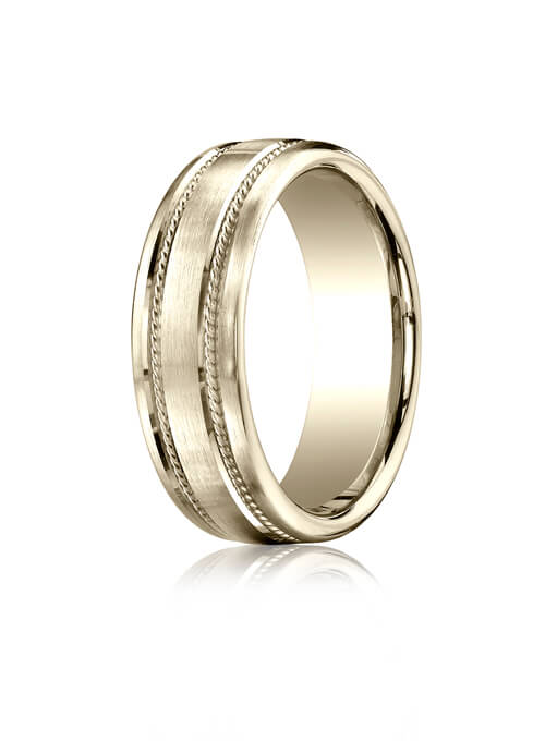 14k White Gold 7.5mm Comfort-Fit Satin-Finished Rope Carved Design Band - CF71750414kw