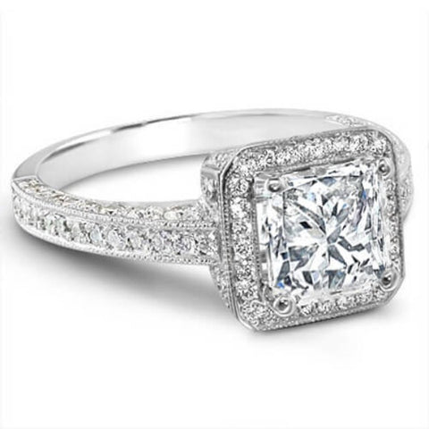 2.89 Ct. Princess Cut Diamond Engagement Ring(GIA Certified)