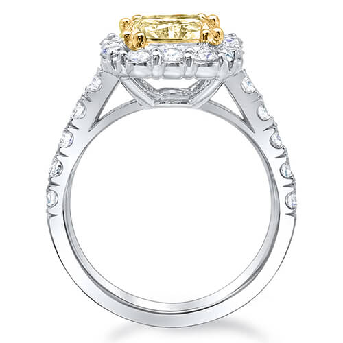 4.01 Ct. Canary Fancy Intense Yellow Cushion Cut Diamond Halo Style Engagement Ring GIA SI2