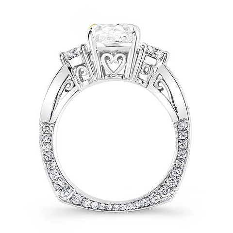 2.80 Ct. Cushion Cut & Half Moon Diamond Engagement Ring G,VS2 GIA