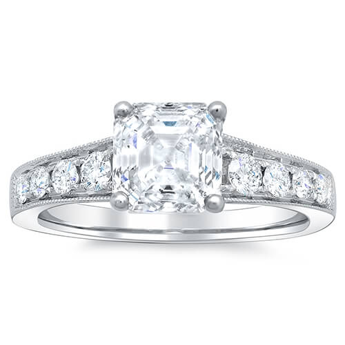 1.41 Ct. Asscher Cut w/ Milgrain Detail Diamond Engagement Ring G,IF GIA
