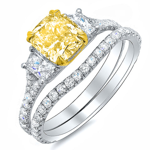 2.70 Ct. Cushion Cut Fancy Intense Yellow Diamond Ring Set Internally Flawless GIA Certified