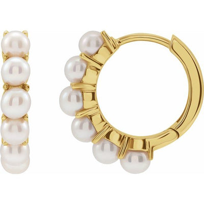 14K Gold Freshwater Cultured Pearl 15.5 mm Hoop Earrings