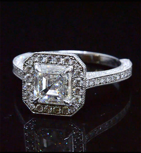 2.60 Ct. Halo Asscher Cut Diamond Engagement Ring F Color VS1 GIA Certified