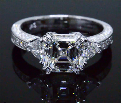 2.75 Asscher Cut w Trillion Cut Sides Diamond Engagement Ring Setting I Color VS1 GIA Certified
